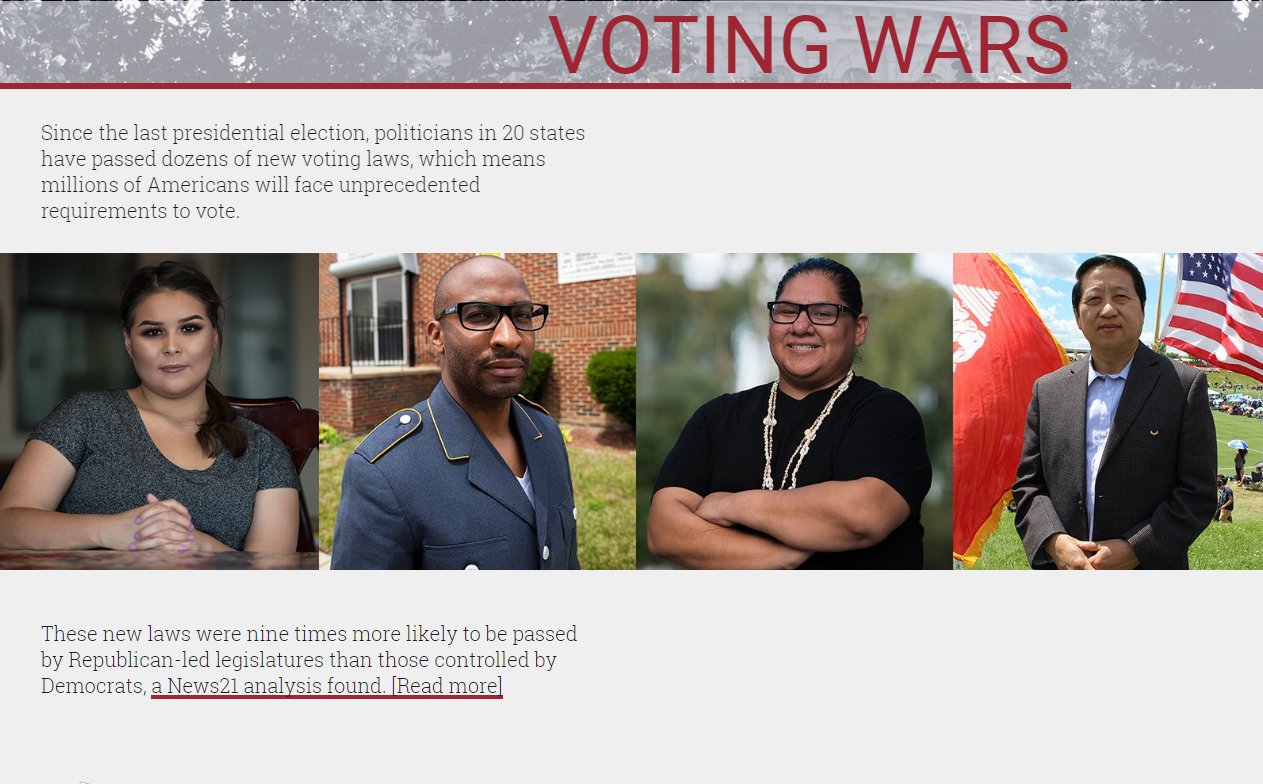 Screenshot from the Voting Wars website.
