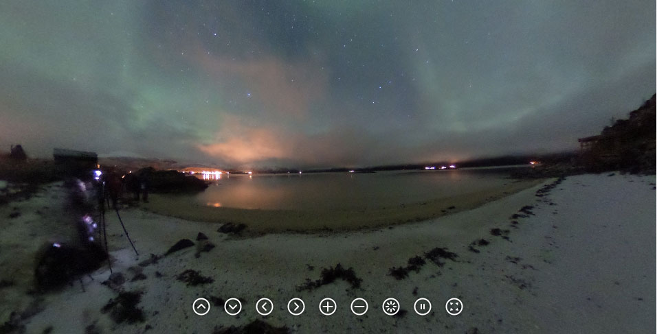The Nordic Aurora photographed with a Ricoh Theta, by Ken Usami. Used with permission from Ricoh.