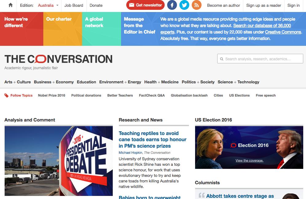 Screenshot of the author's publication -- The Conversation Australia.
