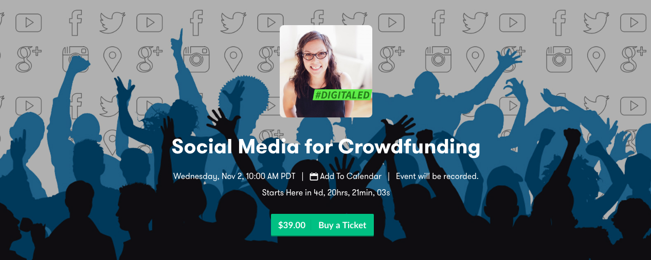 Sign up for DigitalEd's training on Social Media for Crowdfunding.