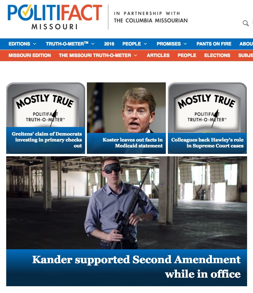 A detail of PolitiFact/Missouri landing page