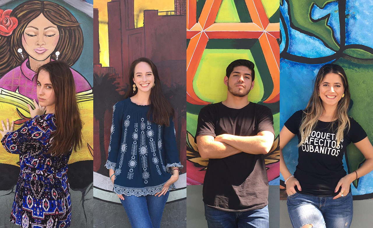 Students on University of Southern California's Dímelo social media team from left, Dani Silva, Cat Clark, Roberto Gutierrez and Barbara Estrada