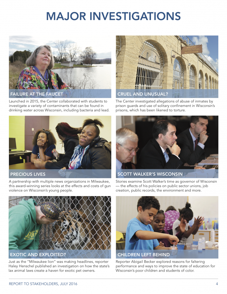 The Investigations page of the WCIJ Stakeholder report used bold imagery to tell the organization's story.