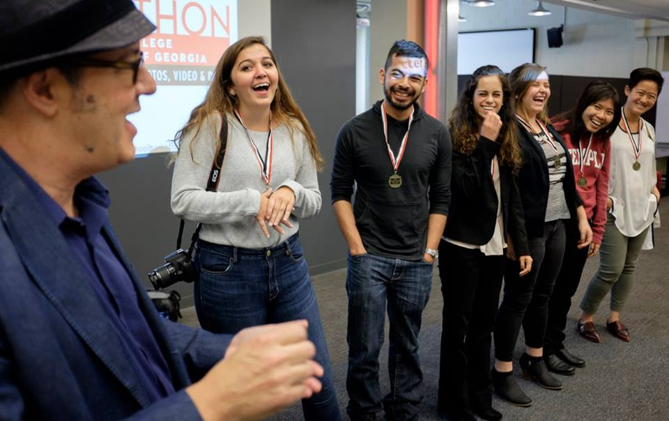 Team Stegosaurus won the Information Verification Hackathon sponsored by MediaShift and the University of GeorgiaÕs Henry W. Grady College of Journalism. From left are Mark Glaser, Reann Huber, Alexander Villegas, Claudia Luna Priego, Brianna Spause, Ahn Nguyen and team facilitator Hannah Wang. Photo by Mark E. Johnson.