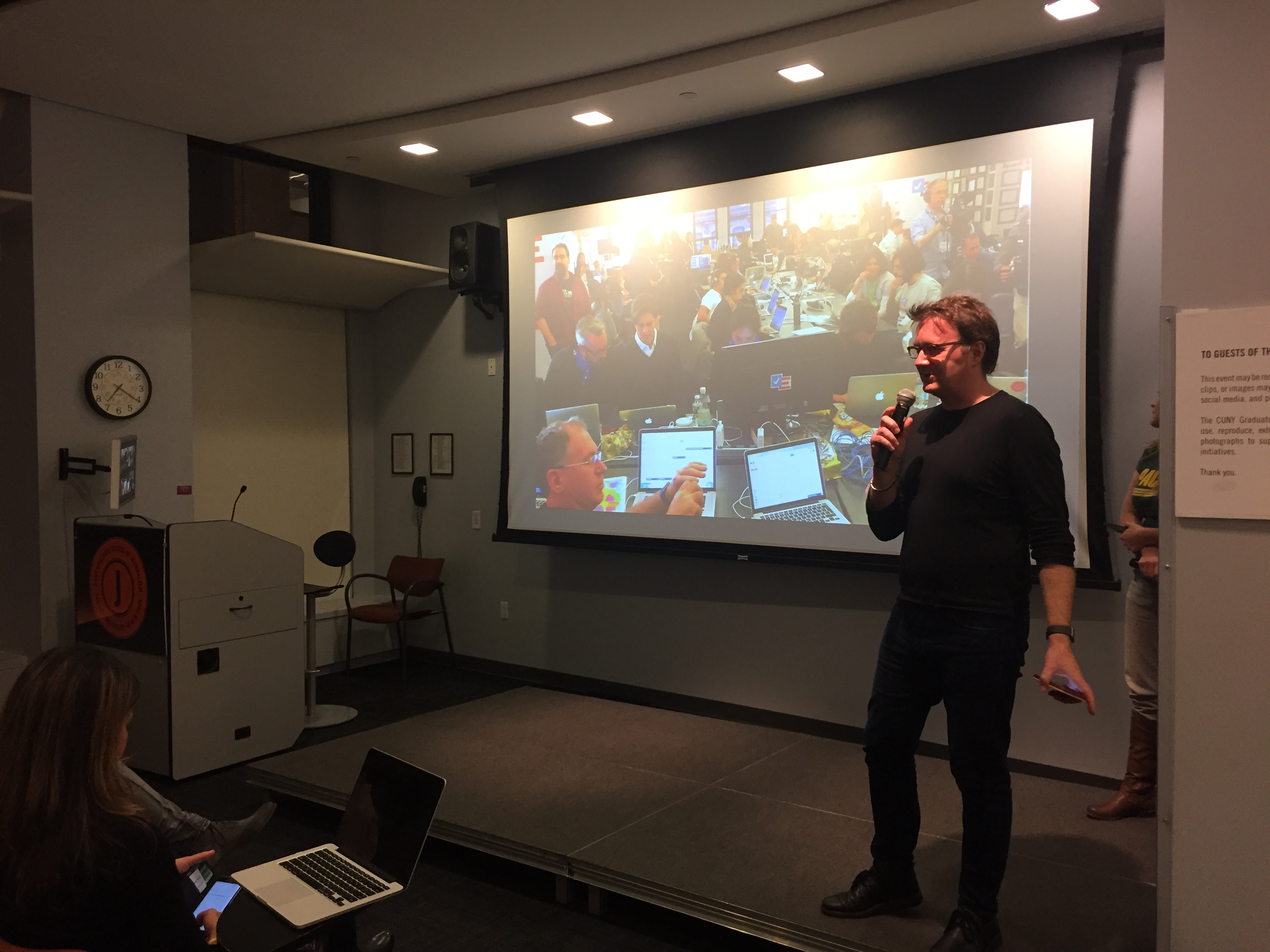 John Keefe presents Electionland to an audience at CUNY's Graduate School of Journalism on Monday night.