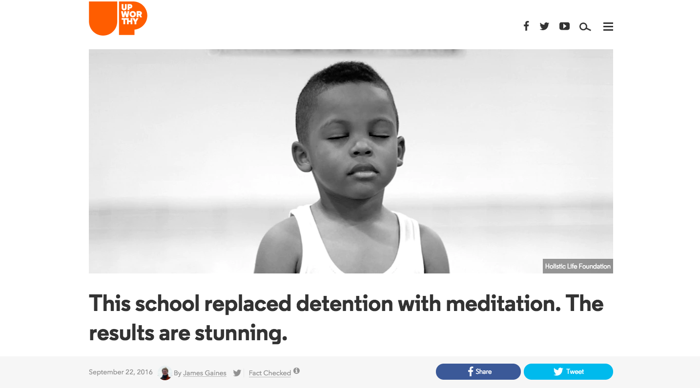 An Upworthy story about schools replacing detention with meditation reached over 14 million people.