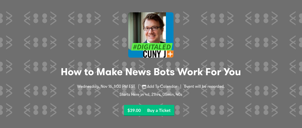 Sign up for DigitalEd's training on how to use news bots for news.