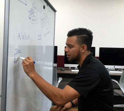Hector Sifuentes, one of the first students to declare the DMI major, begins an innovation project.