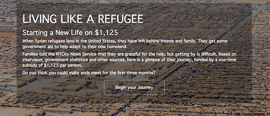 "Splash page for personalized ""Living Like a Refugee"" interactive."