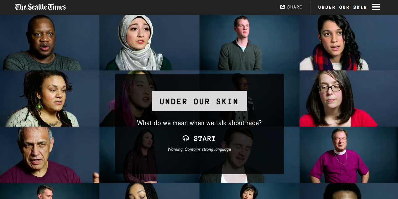 A screenshot from the Seattle Times' Under Our Skin project.