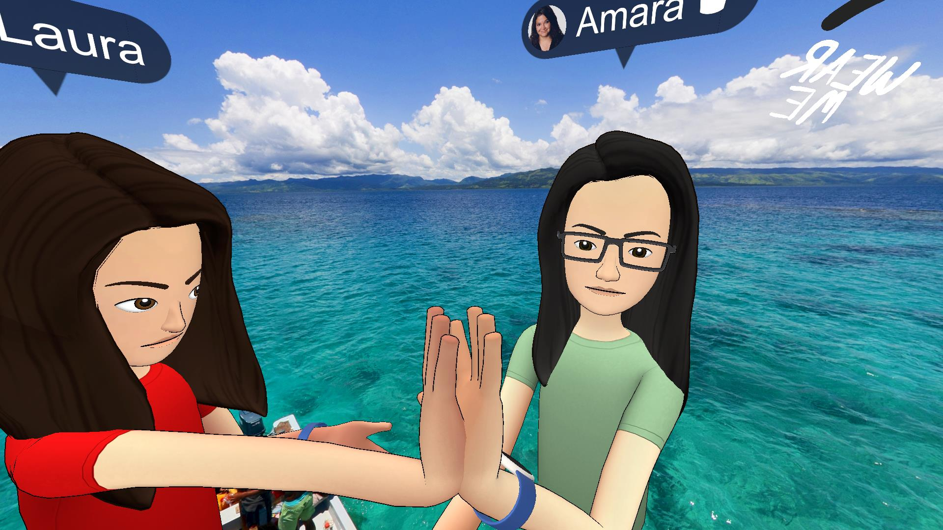 USC Annenberg professors Laura Davis, left, and Amara Aguilar go live for the first time in Facebook Spaces, a social virtual reality app.