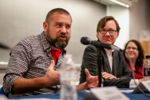 "Brian Boyer, news application editor at NPR, answers questions during the ""Coding for the Future"" panel at the West Virginia University P.I. Reed School of Journalism earlier this year. Courtesy photo."