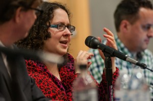 "Michelle Minkoff, interactive producer at the Associated Press, answers questions during the ""Coding for the Future"" panel at the West Virginia University P.I. Reed School of Journalism."