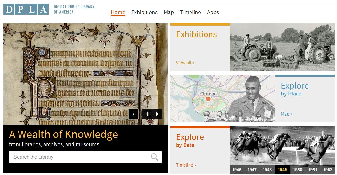 The DPLA is a library without books, offering users access to millions of items -- photos, manuscripts, books, sounds, moving images, and more -- from libraries, archives, and museums around the U.S. Screenshot of the DPLA website.