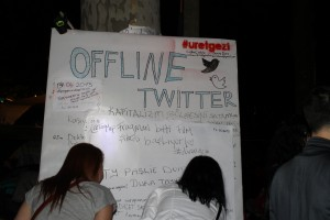 "An ""Offline Twitter"" board set up in Gezi Park, showing the deep importance of social media there"