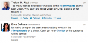 West Coast Tony Awards watchers tweet about the tape delay.