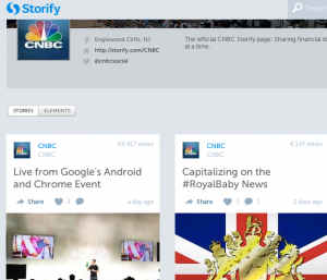 CNBC is one of many publishers that use Storify to aggregate social streams.