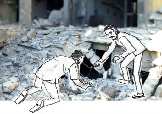 "An illustration of the ""Syrian Stories"" project of a destroyed school is seen in Homs in July 2012. Courtesy of BBG"