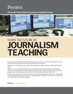 The brochure for News University's J101 program, launched in 2011.