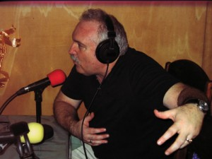Rick Rockwell discusses how radio can help communities on SMILE-FM in Zwedru, Liberia.