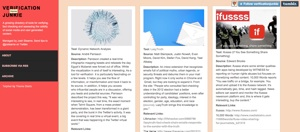 """The author's Verification Junkie project, which is """"a growing directory of tools for verifying, fact checking and assessing the validity of social media and user generated content."""""""