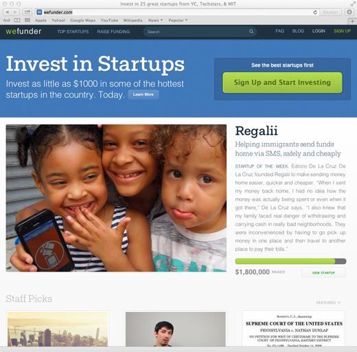 Wefunder's new homepage