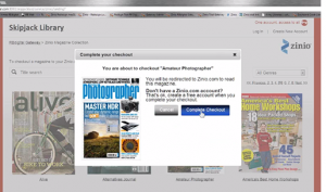 A look at the interface for library users of Zinio, from a screenshot of a Recorded Books instructional video.