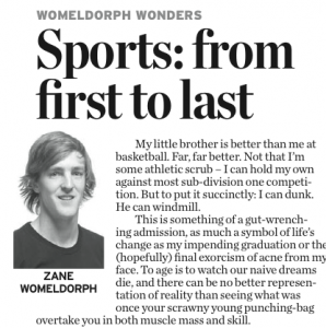 "One of Womeldorph's columns, titled ""Sports: from first to last."""