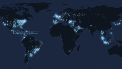 Screenshot from Tweetping.net real time mapping of tweets happening globally