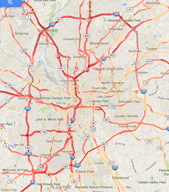 The map of Atlanta traffic at 10 p.m. Tuesday.
