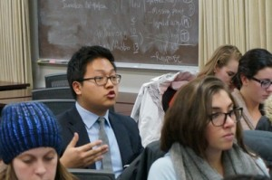 UW-Madison student Christopher Hwang asks the class speaker about BuzzFeed as a news platform.