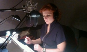 Laura Caldwell in recording booth