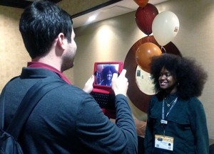 Jacob Ehrnstein interviews past SXTXState participant Kiana Fitzgerald after her panel.