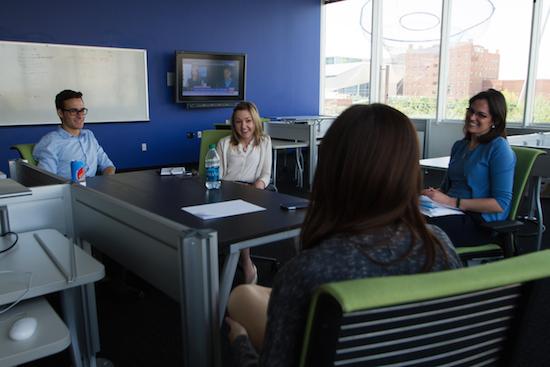 Cronkite students Dominick DiFurio, Brooke Stobbe and DiAngelea Millar meet with PIN Bureau chief Rebecca Blatt. Credit: Walter Cronkite School of Journalism and Mass Communication.