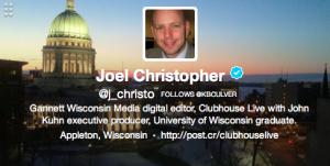 Screenshot of Joel Christopher's Twitter profile (4/30/14)