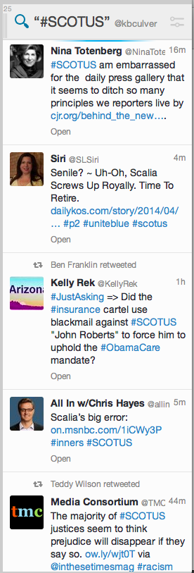 Screenshot of #SCOTUS on Twitter