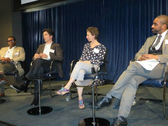 The documentary photography panel speaks at the Public Media 2.0 event. Photo by Media Impact Funders on Facebook.