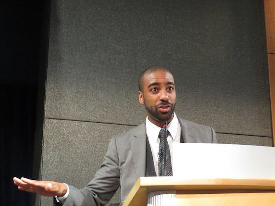 Matt Thompson of NPR addresses the the Public Media 2.0 crowd. Photo by Media Impact Funders on Facebook.