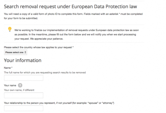 Google launched a webpage that lets Europeans request the deletion of links to personal information about them.