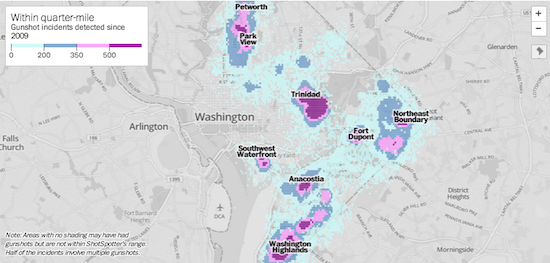 Washington Post used data from the audio sensors on ShotSpotter to produce a story highlighting which Washington, D.C. neighborhoods experienced gunshots most frequently.
