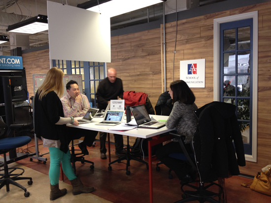 Three AU professors advise the Trip Tribe's Katharine Rust during a media clinic at 1776. Photo by Pilar McKay.