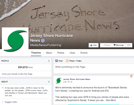 "Jersey Shore Hurricane News is a ""two way"" news organization that operates exclusively on Facebook."