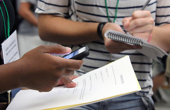 High school students participate in the 2012 High School Journalism Workshop at the E.W. Scripps School of Journalism at Ohio University. Photo by E.W. Scripps School of Journalism on Flickr  and used here with Creative Commons BY-NC license.