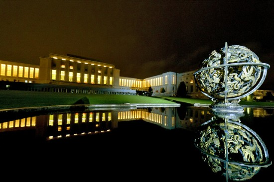 A night view of the Palais des Nations, the seat of the United Nations in Geneva, Switzerland. United Nations photo, used here with Creative Commons license.
