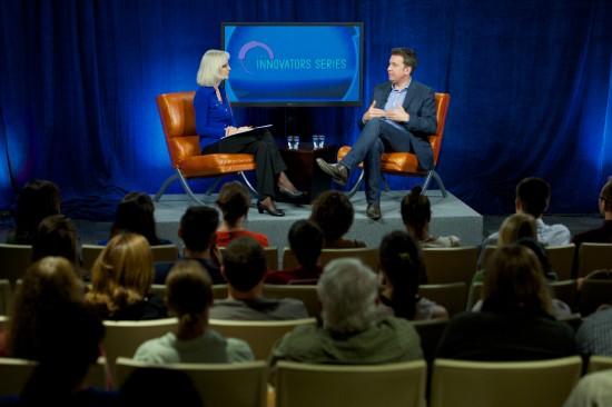 Bridget Grogan, WUFT assistant news editor, interviews Mark Little as part of the University of Florida J-school's Innovator Series.