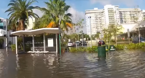 "A screenshot from the award-winning documentary, ""South Florida's Rising Seas,"" shows a moment of massive flooding in Miami Beach in 2012. Flooding is a daily occurrence throughout South Florida as seas rise."