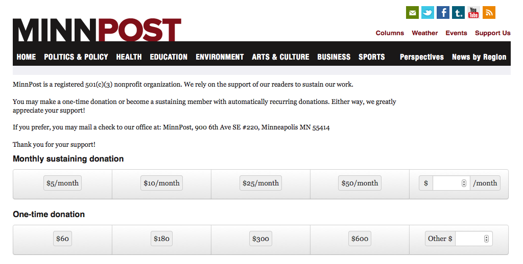 MinnPost's donation page.
