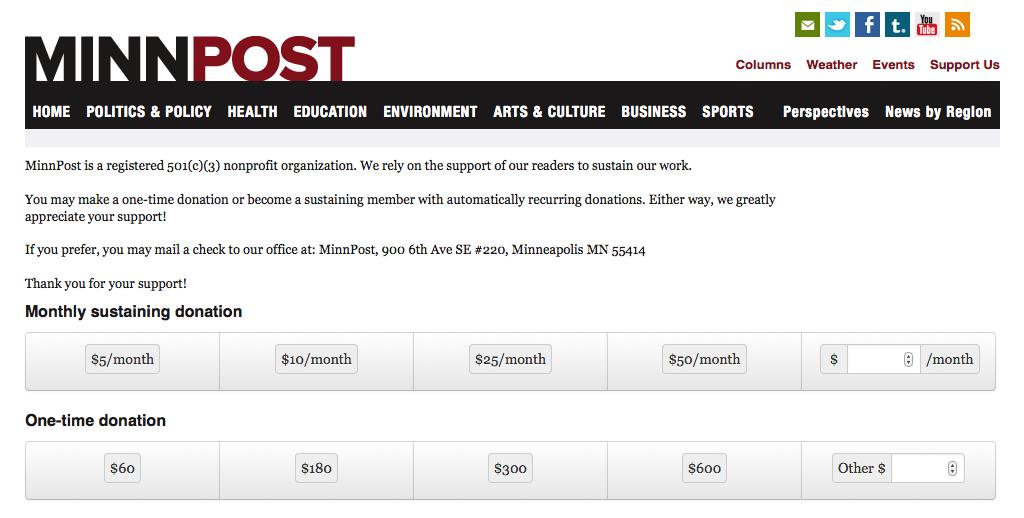MinnPost's donation page.