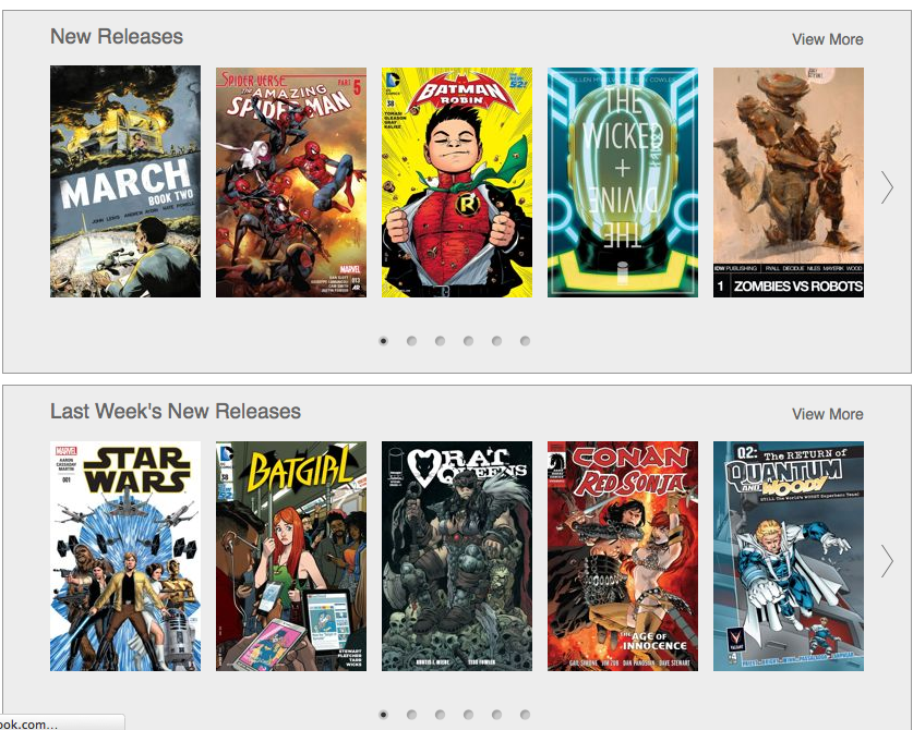 A screenshot of Comixology.