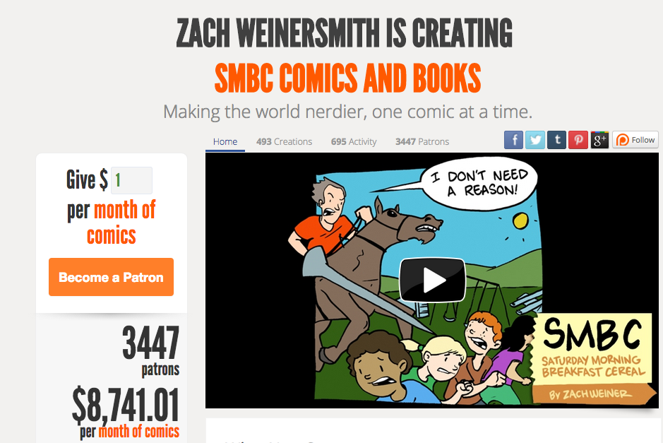 Zach Weinersmith's Patreon page.